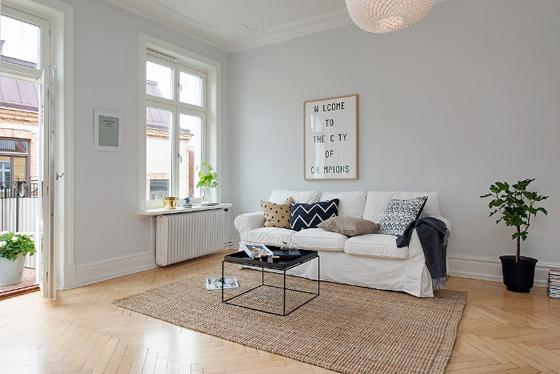 Elegancia en blanco y gris kenay home - Muebles de salon en blanco roto ...